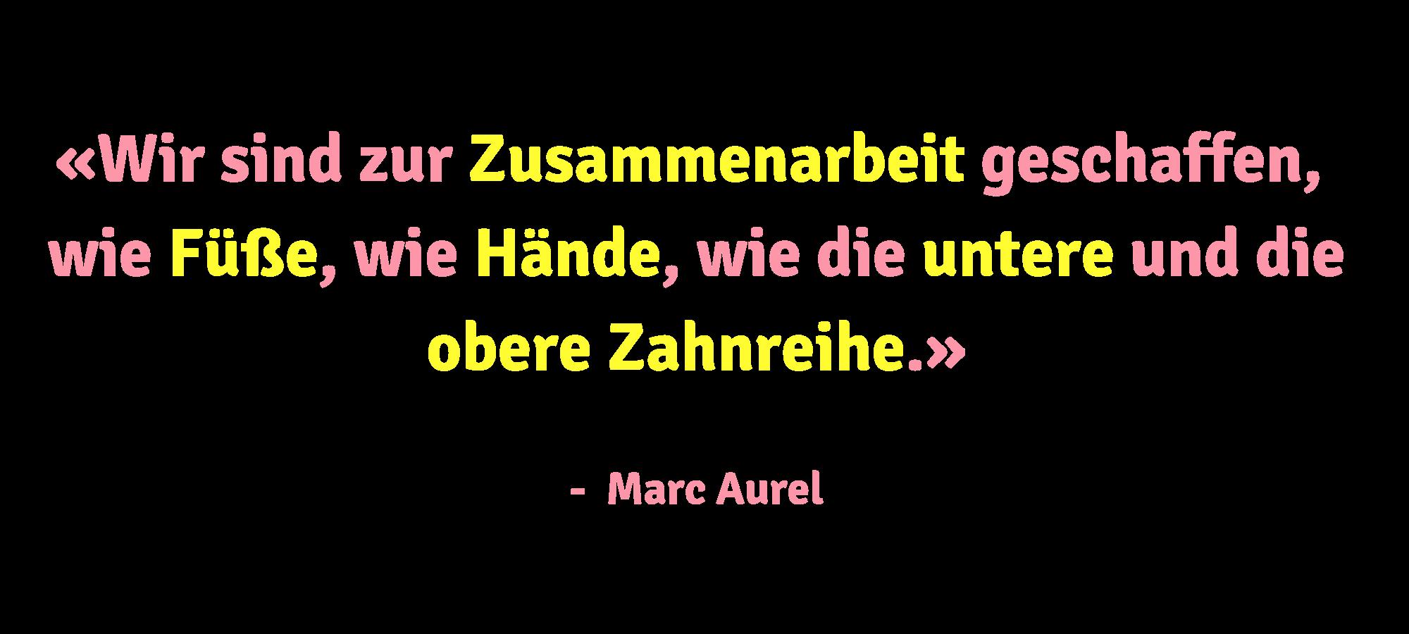 Ein Zitat von Marc Aurel zur Zusammenarbeit für die Minerva Kreativagentur