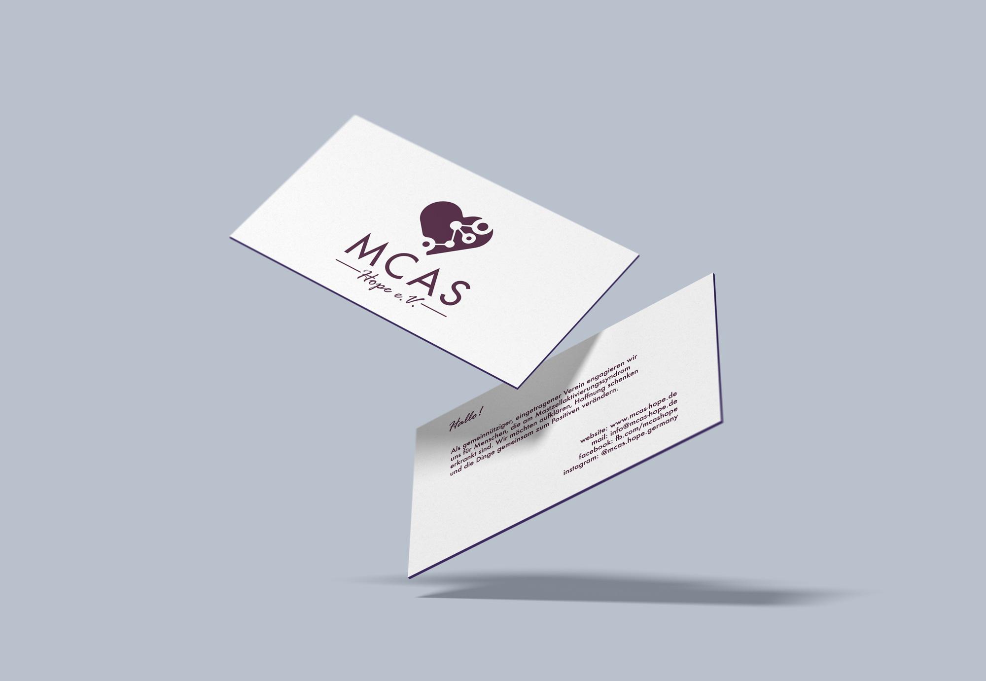 Die Visitenkarten unserer Kunden MCAS Hope e.V.