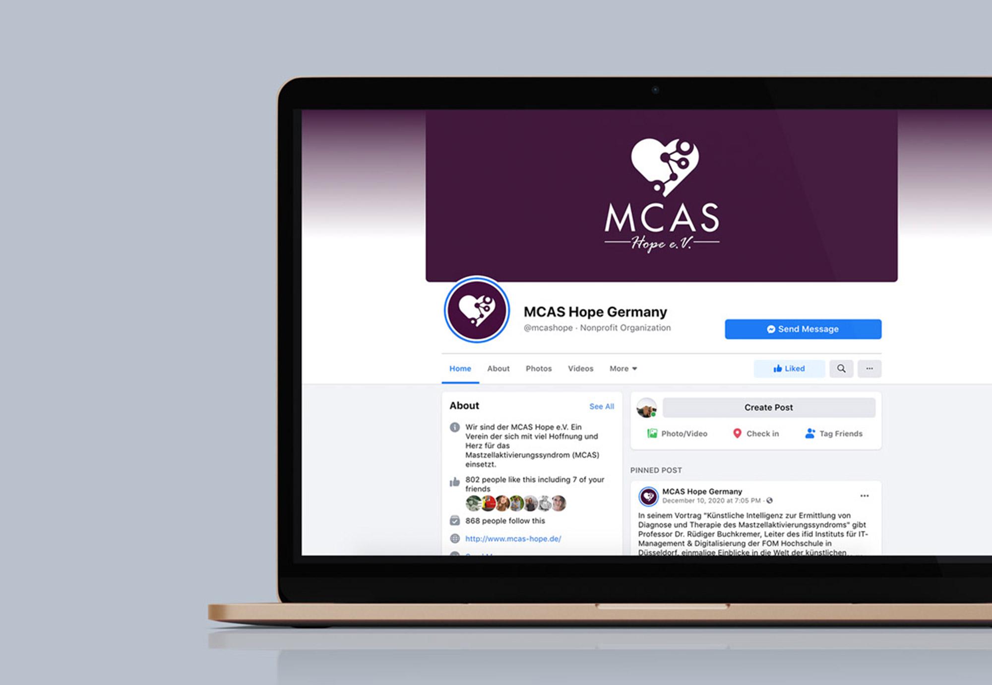 Der Facebook Auftritt unseres Kunden MCAS Hope e.V.