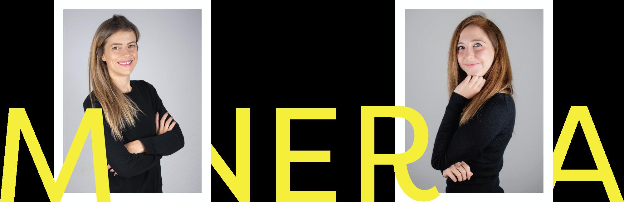 Minerva Kreativagentur Teamfoto von Ronja und Melody mit Logo