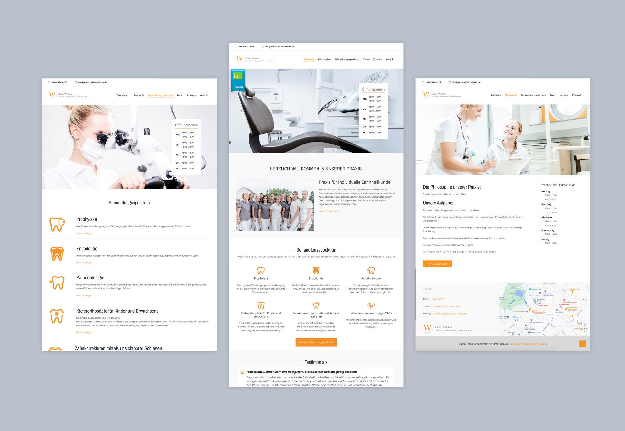 Das Website Design und Branding der Zahnarztpraxis Olivia Winkler