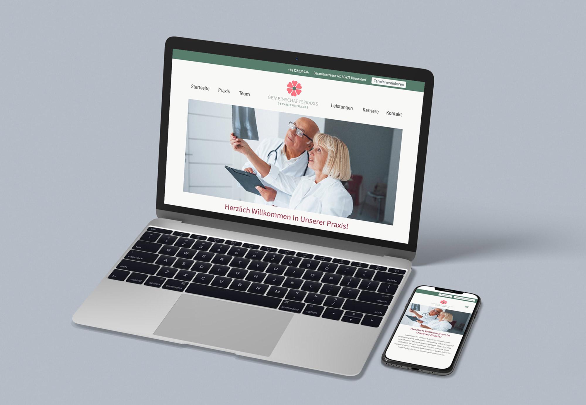 Beispiel einer Praxis Website und Praxismarketing für Mediziner und Therapeuten von Minerva Kreativagentur