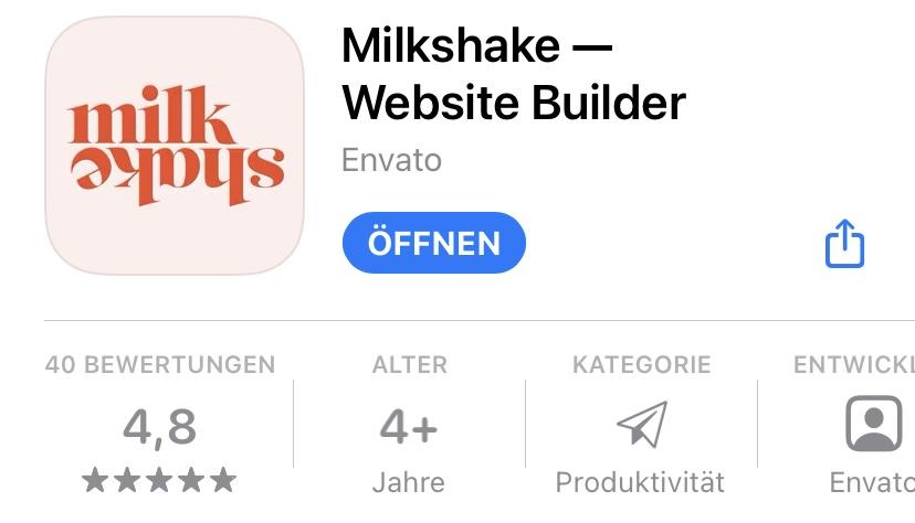 Ein Screenshot der Milkshake App im iOS App Store. Impressumspflicht für Social-Media für Ärzte und Therapeuten